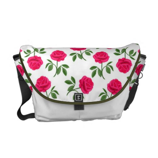 Pink Hybrid Tea Roses Rickshaw Messenger Bag