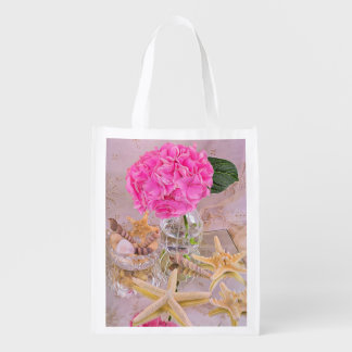 Pink Hydrangea And Sea Shells Grocery Bag