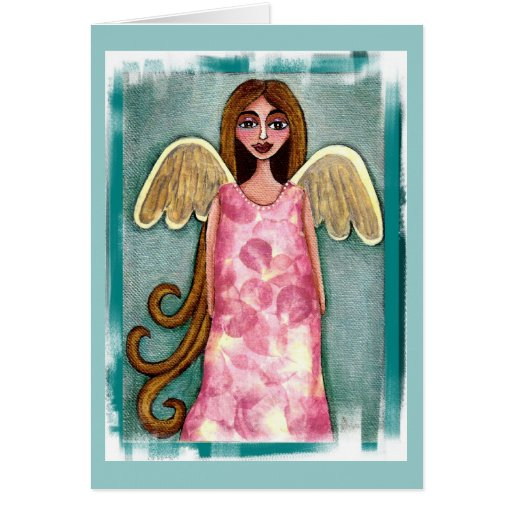 Pink Hydrangea Angel - folk art flower angel card
