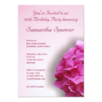 Pink Hydrangea Birthday Invitation