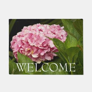 Pink Hydrangea Bloom Floral Welcome Doormat