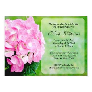 Pink Hydrangea Blossom Birthday Party Custom Invitation