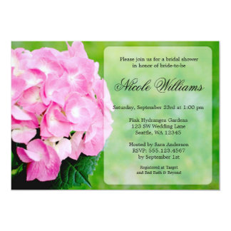 Pink Hydrangea Blossom Bridal Shower Personalized Announcement