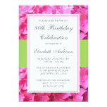 Pink Hydrangea Border Green 80th Birthday Party 5x7 Paper Invitation Card