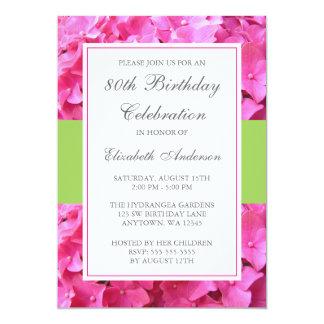 Pink Hydrangea Border Green 80th Birthday Party 5x7 Paper Invitation Card