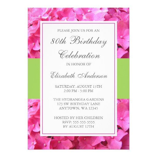 pink hydrangea border green 80th birthday party 5x7 paper