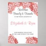 Pink Hydrangea Custom Wedding Welcome Poster
