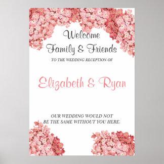Pink Hydrangea, Custom Wedding Welcome Poster