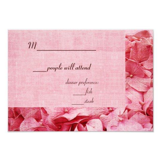 pink hydrangea dreams wedding RSVP card