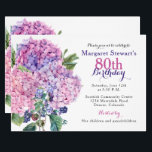 "Pink Hydrangea Floral 80th Birthday Invite<br><div class=""desc"">Pink hydrangea flower and blackberries floral bouquet 80th birthday invitation. This hydrangea flower adult woman's birthday invitation is a good choice for a summer birthday or a spring birthday. This pink hydrangea flower 80th birthday invitation features a beautiful watercolor pink hydrangea bouquet with green leaves and blackberries as accents. This...</div>"