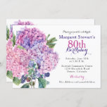 """Pink Hydrangea Floral 80th Birthday Invite<br><div class=""""desc"""">Pink hydrangea flower and blackberries floral bouquet 80th birthday invitation. This hydrangea flower adult woman's birthday invitation is a good choice for a summer birthday or a spring birthday. This pink hydrangea flower 80th birthday invitation features a beautiful watercolor pink hydrangea bouquet with green leaves and blackberries as accents. This...</div>"""