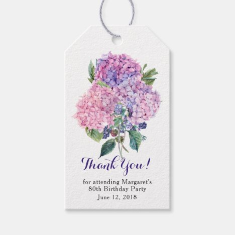 Pink Hydrangea Floral 80th Birthday Thank You Gift Tags