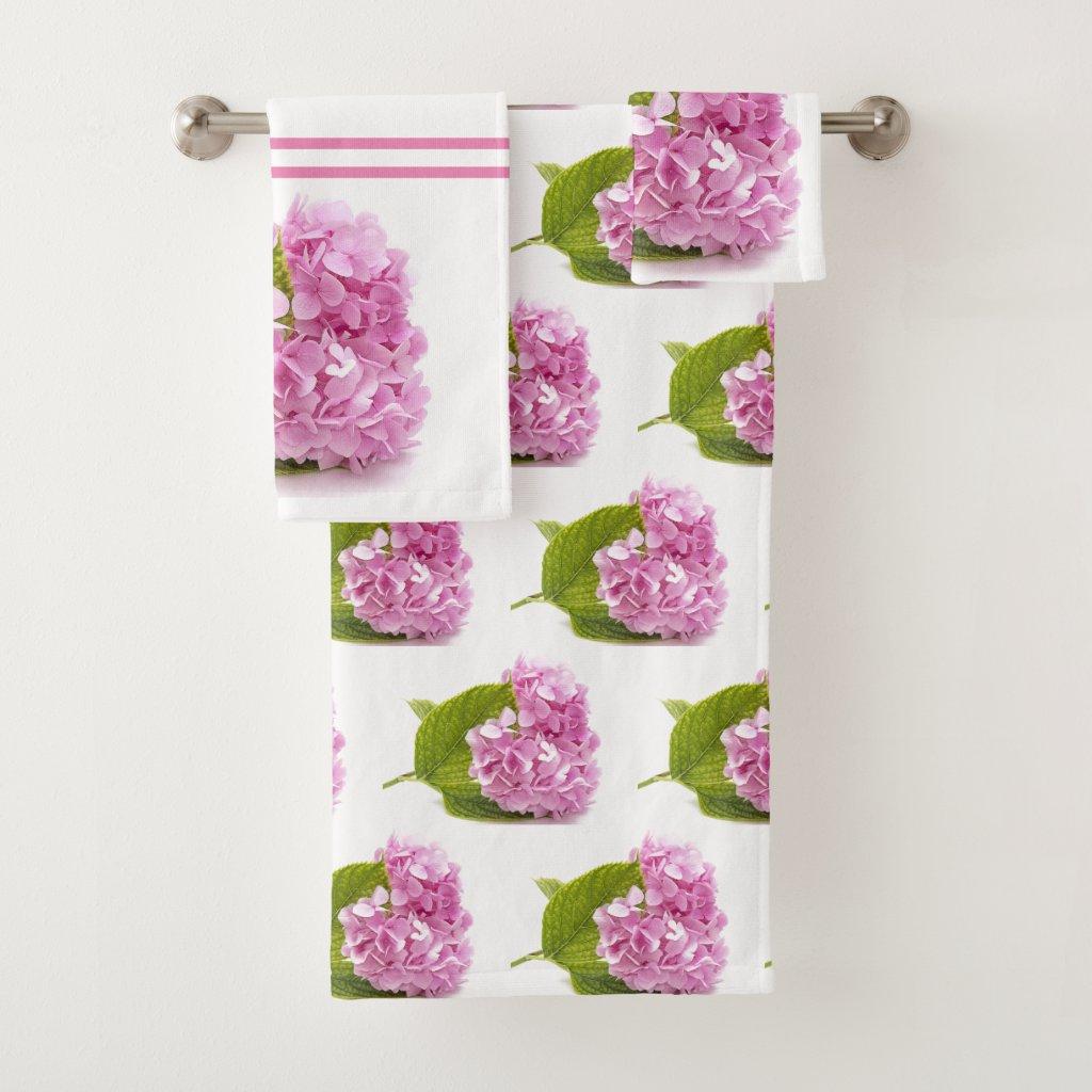 Pink Hydrangea Floral Bath Towel Set