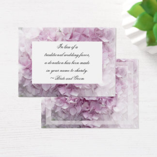 Pink Hydrangea Flower Wedding Charity Favor Card
