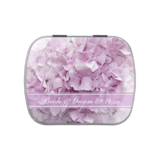 Pink Hydrangea Flower Wedding Favors Jelly Belly Candy Tin
