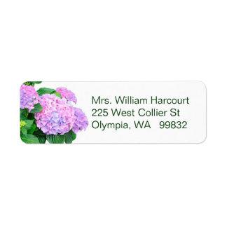 Pink Hydrangea Flowers address label