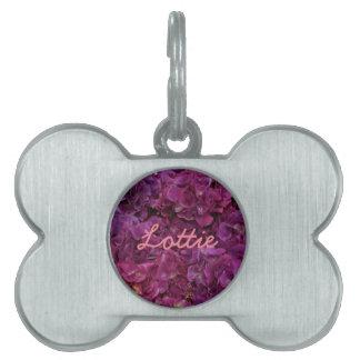 Pink hydrangea flowers pet tag