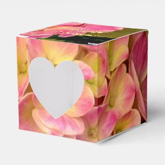 Pink Hydrangea Flowers-Square Heart Favor Box