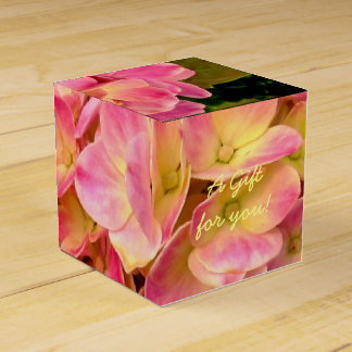 Pink Hydrangea Flowers-Square Style Favor Box