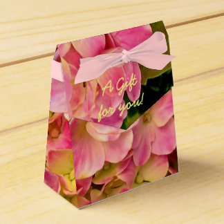 Pink Hydrangea Flowers-Tent Style Favor Box