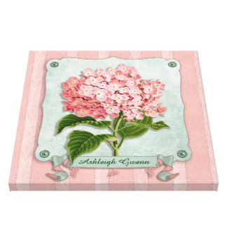 Pink Hydrangea Green Ribbon Paper Striped Fabric Canvas Print