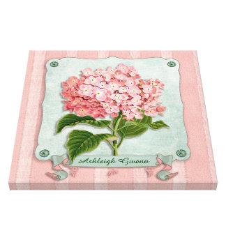 Pink Hydrangea Green Ribbon Paper Striped Fabric Canvas Print