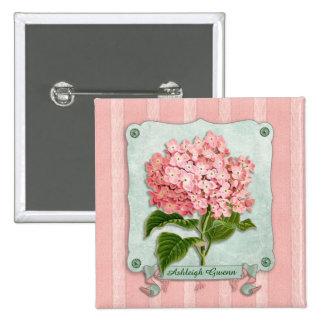 Pink Hydrangea Green Ribbon Paper Striped Fabric Pinback Button