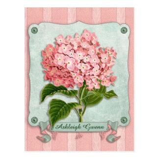 Pink Hydrangea Green Ribbon Paper Striped Fabric Postcard
