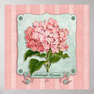 Pink Hydrangea Green Ribbon Paper Striped Fabric Poster
