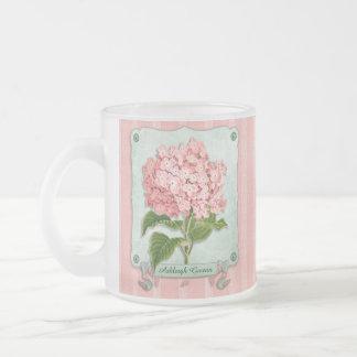 Pink Hydrangea Green Ribbon Striped Paper Cutouts 10 Oz Frosted Glass Coffee Mug