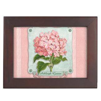 Pink Hydrangea Green Ribbon Striped Paper Cutouts Memory Box
