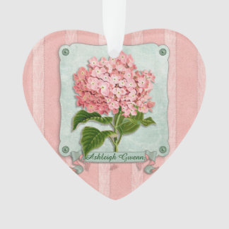 Pink Hydrangea Green Ribbon Striped Paper Cutouts Ornament