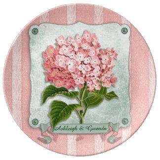 Pink Hydrangea Green Ribbon Striped Paper Cutouts Porcelain Plate