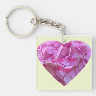 """Pink Hydrangea Heart - Love You Mum"" Keychains"