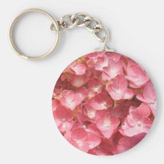 Pink hydrangea basic round button keychain