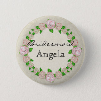Pink Hydrangea Lace Floral Formal Bridesmaid Badge Button