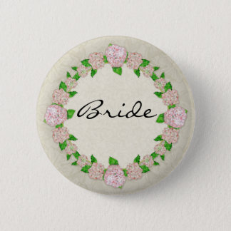 Pink Hydrangea Lace Floral Formal Elegant Weddings Button