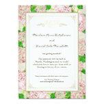 Pink Hydrangea Lace Floral Formal Elegant Weddings Announcement