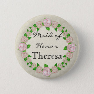 Pink Hydrangea Lace Floral Formal Maid of Honor Button