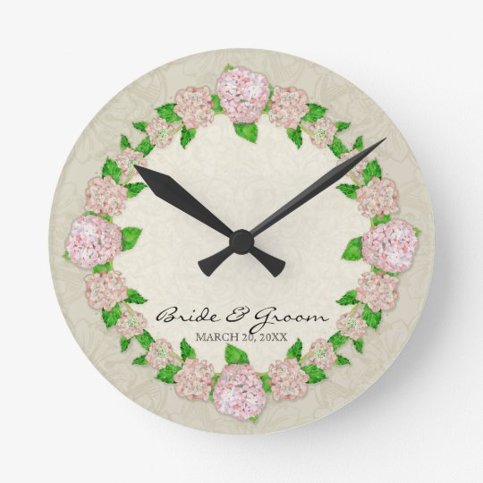Pink Hydrangea Lace Floral Formal Wedding Gift Round Clock