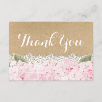 Pink Hydrangea Lace Modern Rustic Thank You