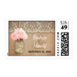 pink hydrangea mason jar rustic wedding postage stamp