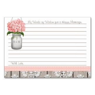 Pink Hydrangea Mason Jar Words of Advice Table Card