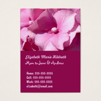 Pink Hydrangea - Mom calling cards template