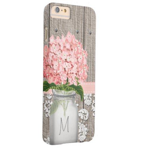 Pink Hydrangea Monogram Mason Jar Phone Case