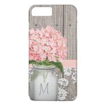 Pink Hydrangea Monogram Mason Jar iPhone 7 Plus Case
