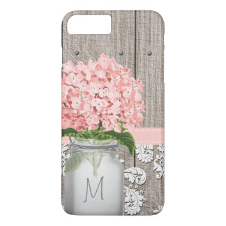 Pink Hydrangea Monogram Mason Jar iPhone 7 Plus Case