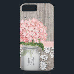 "Pink Hydrangea Monogram Mason Jar iPhone 8 Plus/7 Plus Case<br><div class=""desc"">Pretty in pink HYDRANGEA artwork with a wooden fence, antique damask pattern lace background and stitched light pink ribbon look design. The mason jar holding the flowers can be monogrammed with your initial and first letter of your monogram. Elegant and feminine rustic chic, country, farmhouse, garden party or barnyard style...</div>"