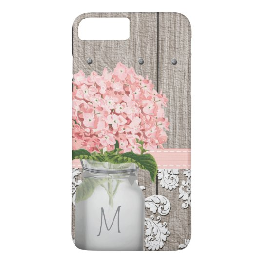 pink hydrangea monogram mason jar iphone 8 plus 7 plus case zazzle com