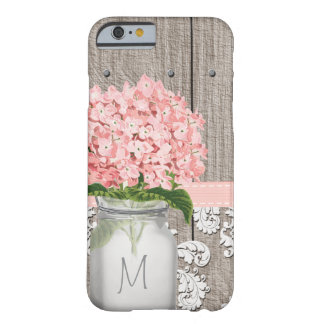 Pink Hydrangea Monogrammed Mason Jar Barely There iPhone 6 Case